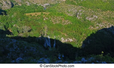 Panorama of the Manojlovac waterfall at Krka river -...
