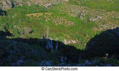 Panorama of the Manojlovac waterfall at Krka river