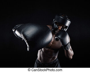 Young sportsman training boxing - Portrait of african male...
