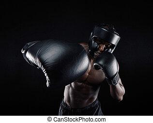 joven, deportista, entrenamiento, boxeo,
