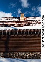 Wall of the house and icicles from the roof - Wall of the...