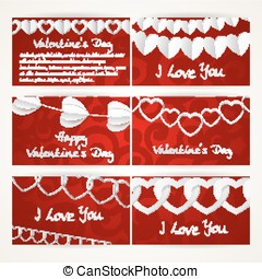 Horizontal banners set with garlands of paper hearts for Valentine's Day