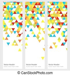 Abstract template horizontal banner with color triangle...