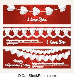 Horizontal banners with long garlands of paper hearts for Valentine's Day