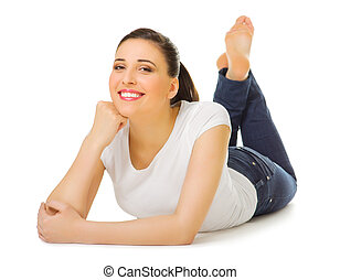 Young smiling girl laying on the floor