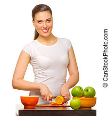 Young woman with fruits