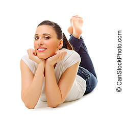 Young girl laying on the floor