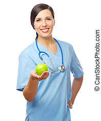 Doctor with green apple