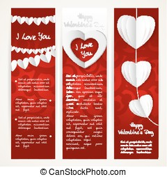 Vertical banners set with garlands of paper hearts for Valentine's Day