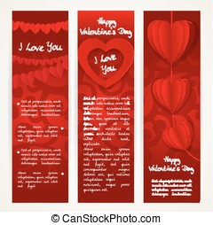 Vertical red banners set with garlands of paper hearts for Valentine's Day