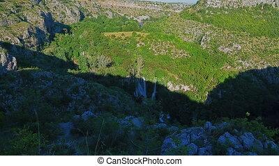 Panorama of the Manojlovac waterfall at Krka river -...