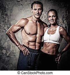 pareja, con, hermoso, atlético, bodies, ,