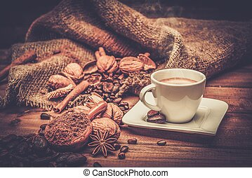 madeira, tabela, café, tema, ainda-vida