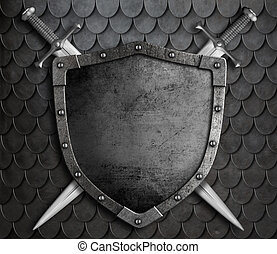 medieval shield with two crossed swords over scales armour...