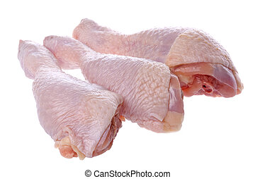 Raw Chicken Drumsticks - Isolated image of raw chicken...
