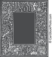 Vector background board I love you 04 - Vector sketch frame...