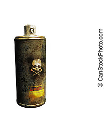 rusty spray can isolated on white background