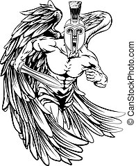 Spartan helmet angel - An illustration of a warrior angel...