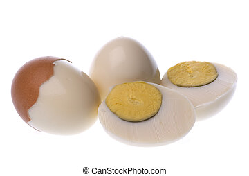 Boiled Chicken Eggs Macro Isolated - Isolated macro image of...
