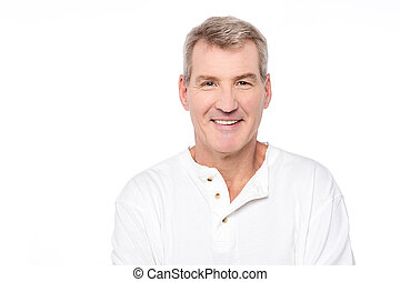 I feel happy today - Mature man posing over white background...
