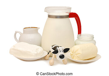 Set of dairy products and a toy cow