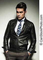 Attractive business man in leather jacket