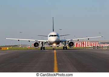 Aircraft taxiing - Eye to Eye view of aircraft taxiing on...