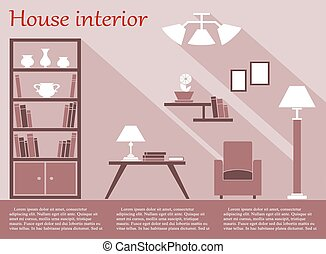 House interior infographic in flat style with furniture and...