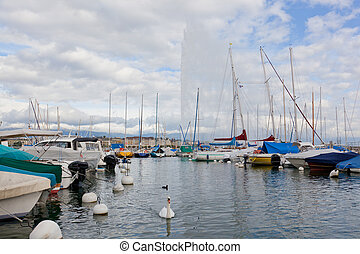 Yachts on the lake, Geneva