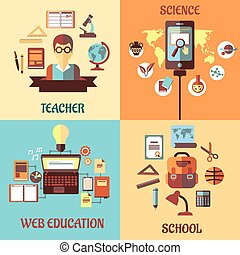 Flat designs for web education, school, science and teacher...