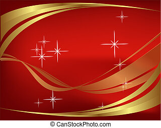 Red and golden wavy background