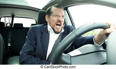 Man driving car feeling sick - Business man driving car...