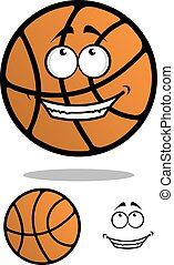 Cartoon funny orange basketball ball