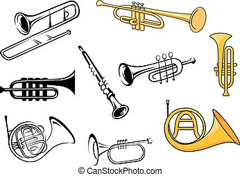 Wind instruments in sketch and cartoon style - Trumpets,...