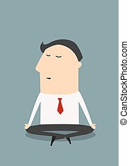 Cartoon meditating businessman character in flat style -...