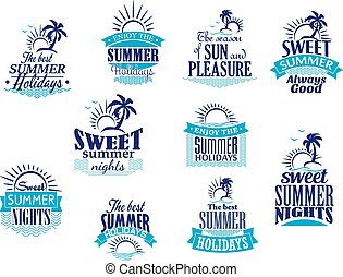 Summer holidays and vacation emblems in blue colors