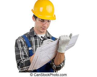 giovane, lavoratore, scrivere, à, plan, ,