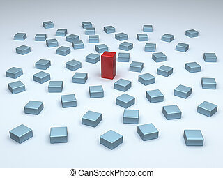 Standing out - One tall red block among many small blue...