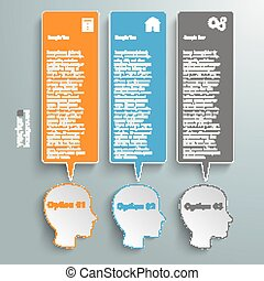 3 Heads Speech Bubble Banners - Infographic with heads on...