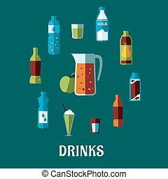Flat non alcoholic beverage with caption Drinks - Flat non...