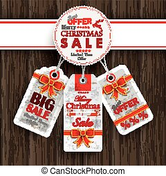 White Emblem Christmas Price Stickers Ornaments Wood -...