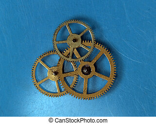 Teamwork copper cogwheels - Group of cogwheels rotating in...