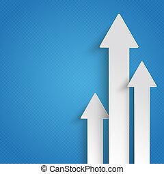 Three White Arrows Growth - White arrows on the blue...