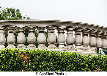 Curved Balustrade - A curved cement balustrade in a public...