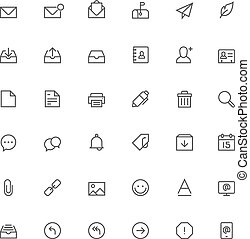 Email icon set - Set of the simple mail related glyphs
