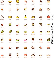 Pizza icon set - Set of the simple pizza related glyphs