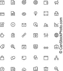 SEO icon set - Set of the simple SEO related glyphs
