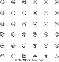 Smiley icon set - Set of the simple emoticons