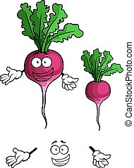 Happy smiling radish vegetable in cartoon style - Cheerful...