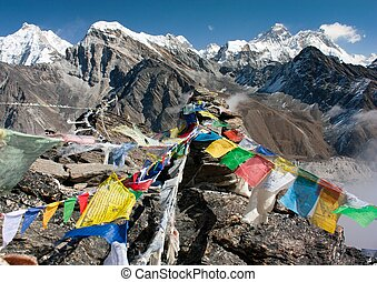 view of everest from gokyo ri - way to Everest base camp -...